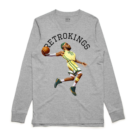 Retro Kings King James Grey L/S Tee