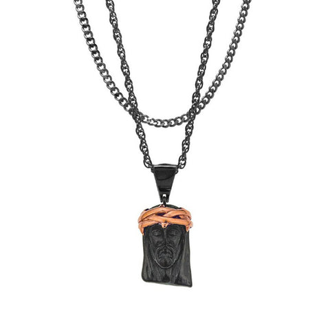 Mister Jesus Black & Rose Gold Necklace