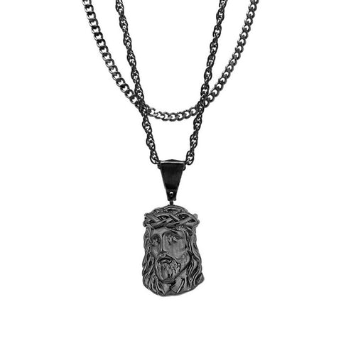 Mister Micro Jesus Black Necklace