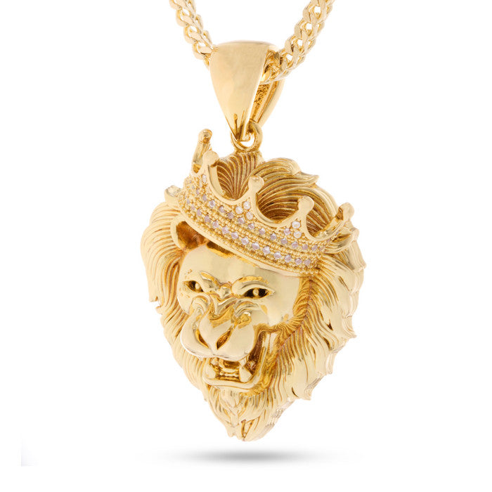 King Ice Roaring Lion Stone Necklace