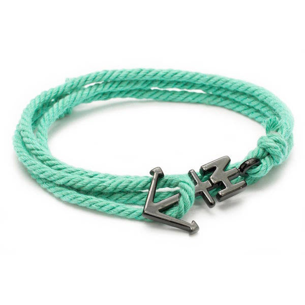 Nautical Black Anchor Mint Bracelet