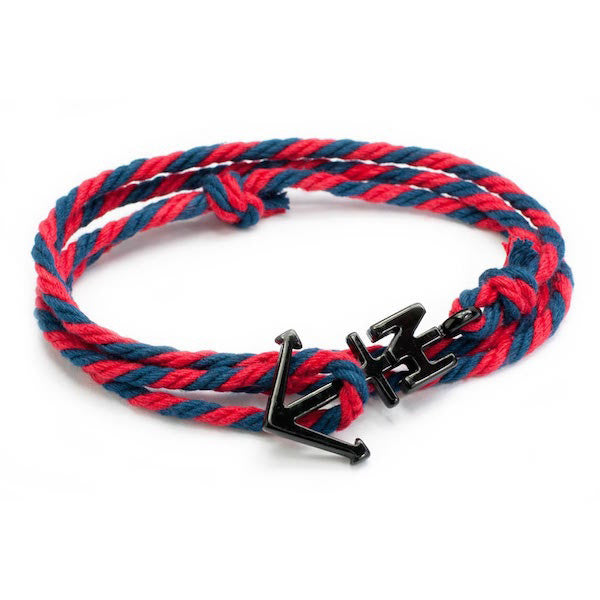 Nautical Black Anchor Navy/Red Bracelet