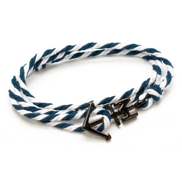 Nautical Black Anchor Navy/White Bracelet