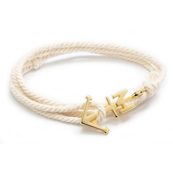 Nautical Gold Anchor Cream Bracelet