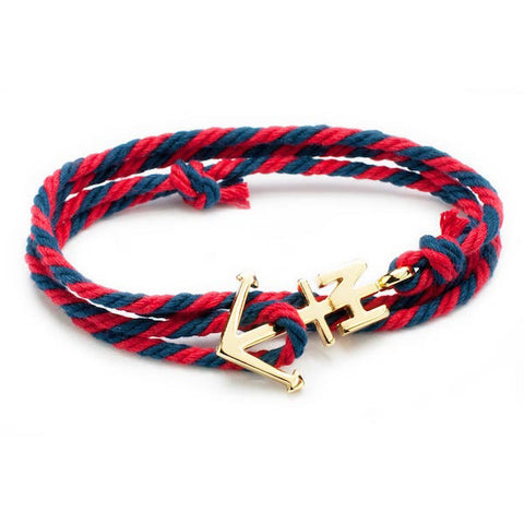 Nautical Gold Anchor Navy/Red Bracelet