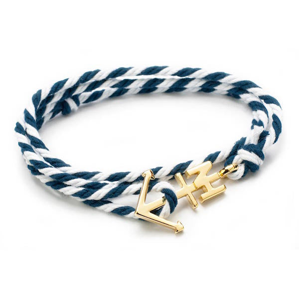 Nautical Gold Anchor Navy/White Bracelet