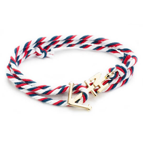 Nautical Gold Anchor Navy/White/Red Bracelet