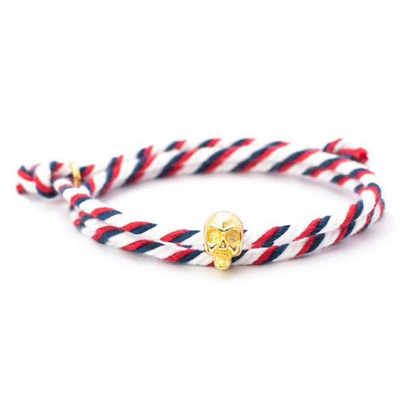 Nautical Navy/White/Red Skull Bracelet