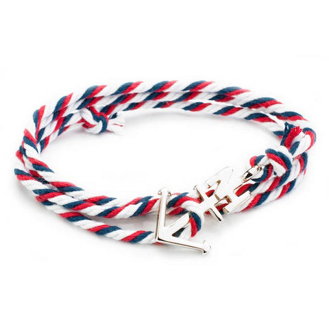 Nautical Silver Anchor Navy/White/Red Bracelet