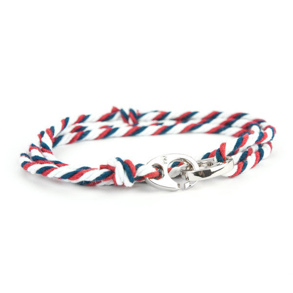 Nautical Silver Brummel Navy/White/Red Bracelet