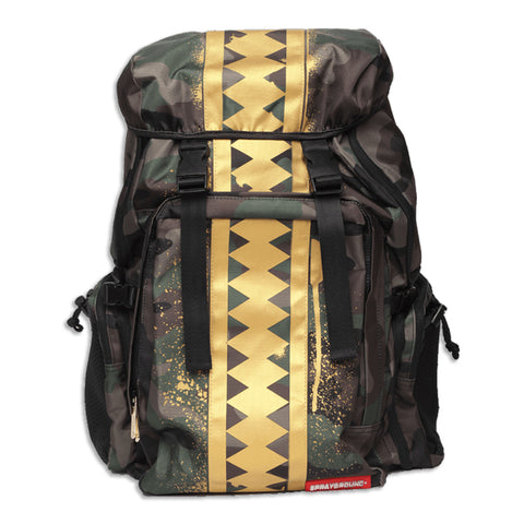 Sprayground Gold Camo Shark Top Gear Bag