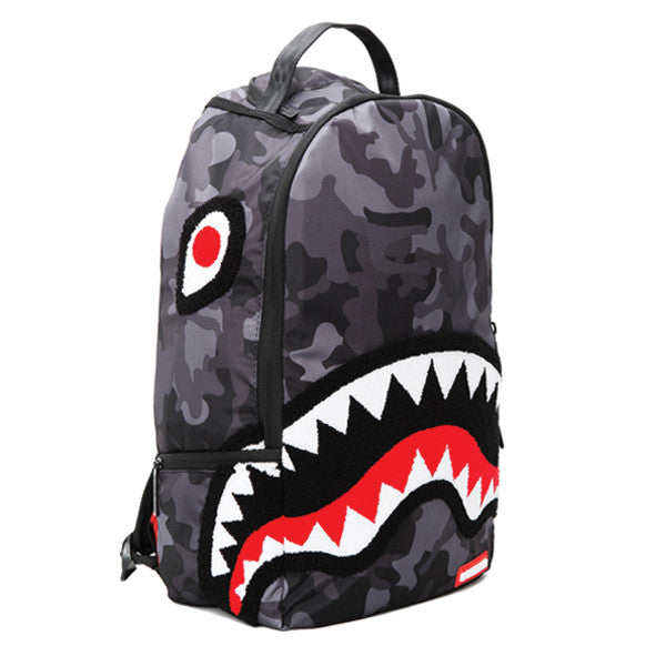 Sprayground Chenille Black Camo Shark Backpack