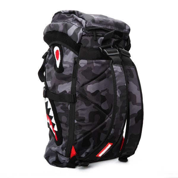 Sprayground Chenille Black Camo Shark Top Loader