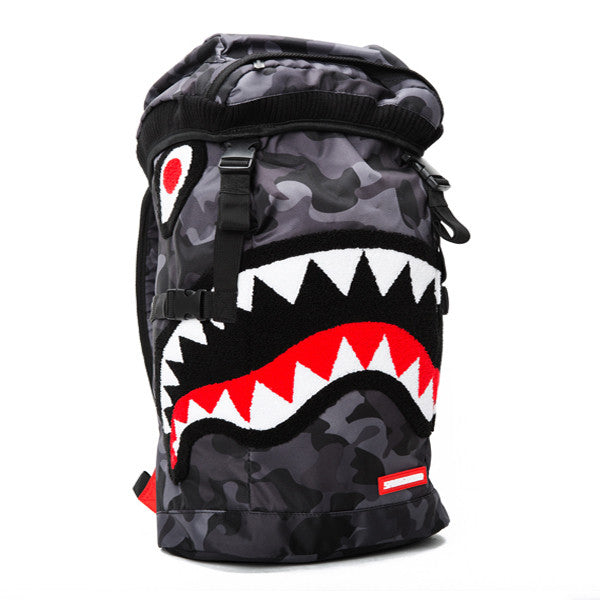 Bape Shark Backpack >> Sprayground Chenille Black Camo Shark Top Loader
