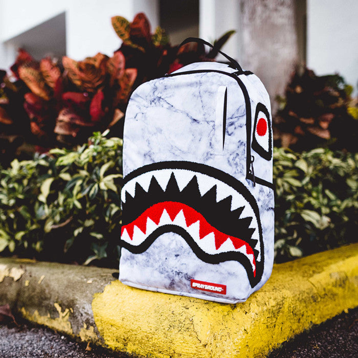 Sprayground Chenille White Marble Shark Backpack