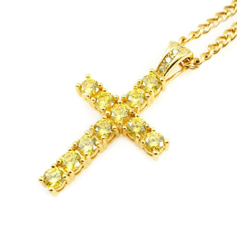 Veritas Remus Canary Diamond Cross Necklace