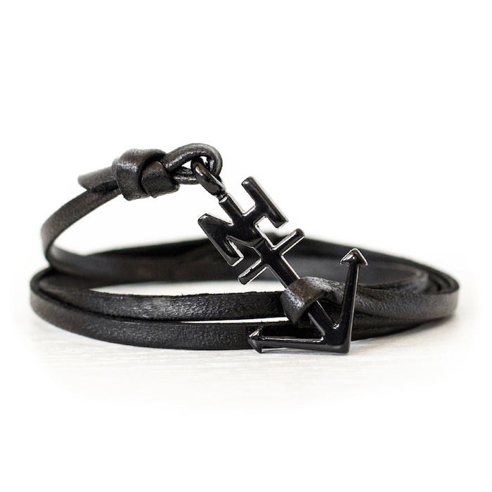 Nautical Black Anchor Black Leather Bracelet