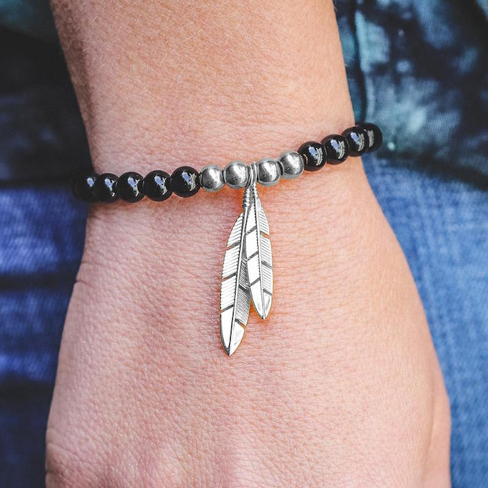 Mister Silver Feather Bead Bracelet