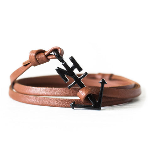 Nautical Black Anchor Brown Leather Bracelet