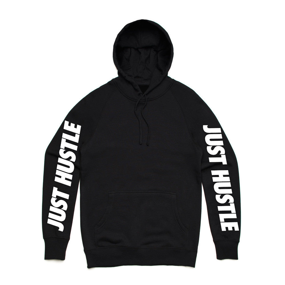 Just Hustle Bare Arms Black Hoodie