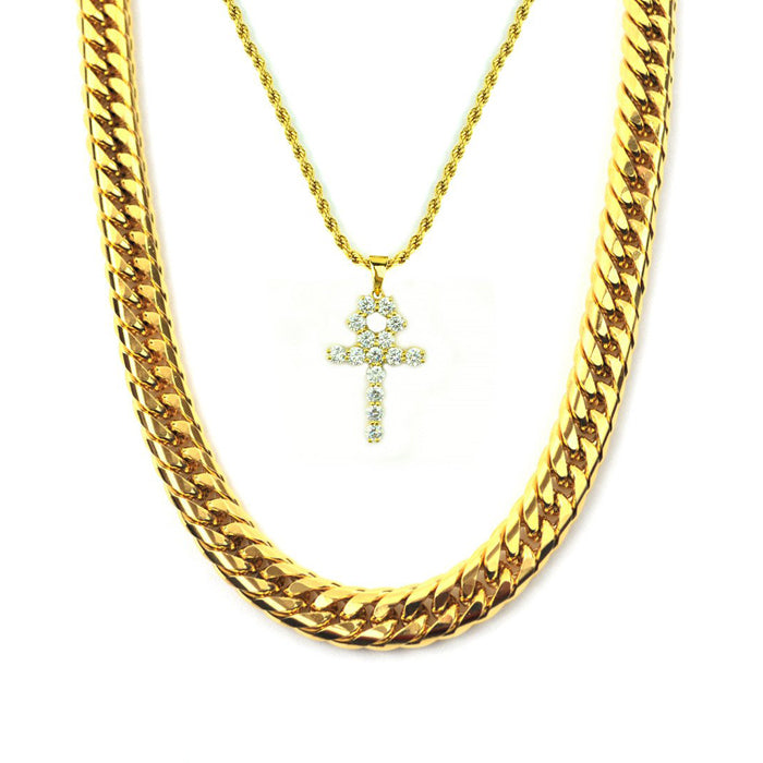 Gold Gods Ankh & Cuban Link Set