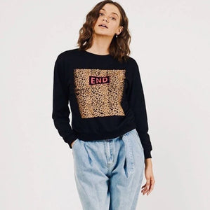 End Leopard Sweater - Black