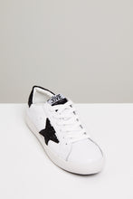 Load image into Gallery viewer, Kobi Leather Sneakers - White / Black Glitter Star