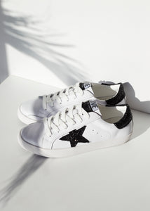 Kobi Leather Sneakers - White / Black Glitter Star