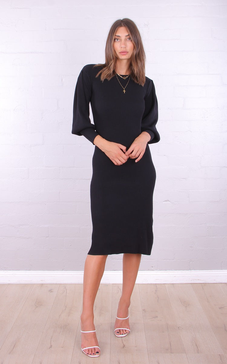 Kitty Balloon Sleeve Knit Dress - Black
