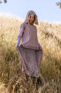 Stella + Gemma - Pleated Leopard Skirt - Pink