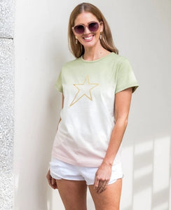 Stella + Gemma Ombre` Chive/Rose Gold Star Tee