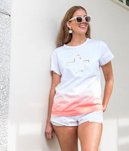 Load image into Gallery viewer, Stella + Gemma Ombre` Papaya Gold Cross Tee