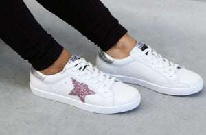 Kobi Leather Sneakers - Pink Glitter