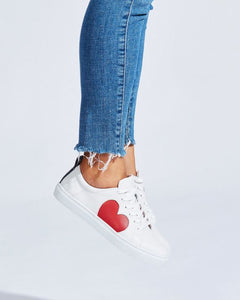 Heart Leather Sneaker - Red