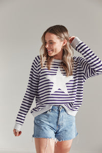PRE-ORDER - St Tropez Sweater - Ice Blue with Navy Stripe