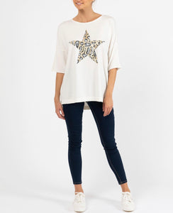 Carrie Leopard Star Knit - White
