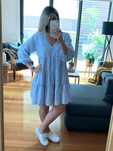 Audrey Dress - Blue Gingham