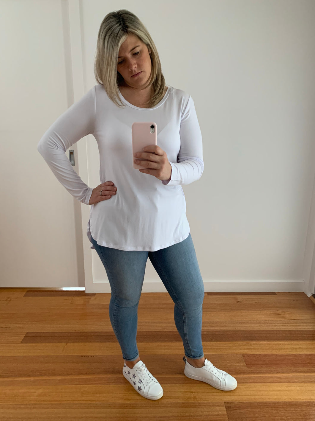 Tess Top - White Long Sleeve