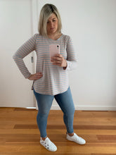 Load image into Gallery viewer, Tess Top - Blush/Grey Long Sleeves