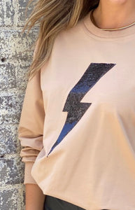Dasha Camel Bolt Sweater