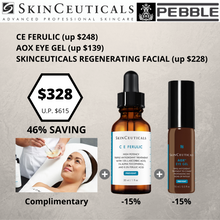 Load image into Gallery viewer, FACE & EYE ANTIOXIDANT DUO : CE FEFULIC + AOX EYE GEL + COMPLIMENTARY SKINCEUTICALS REGENERATING FACIAL