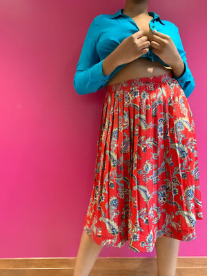 Red Paisley Midi Skirt