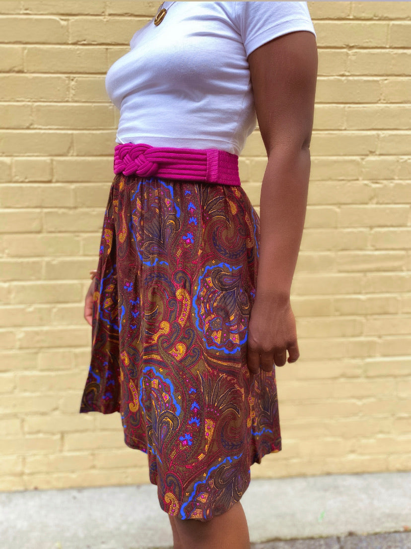 Brown Paisley Midi Skirt