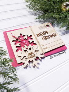 Wood Christmas Card with Ornament