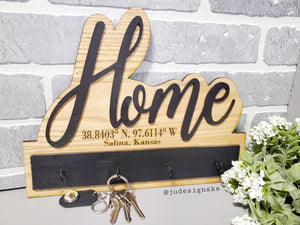 Wall Hanging Wood Key Holder - Personalized or non-Personalized