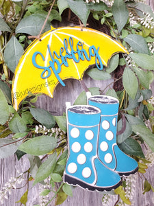 DIY Hello Spring Umbrella and Rainboots Door Hanger Kit