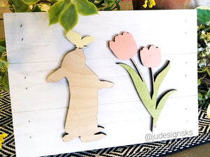 Bunny and Tulip Pallet Sign