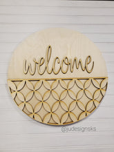"Load image into Gallery viewer, DIY Wood 14"" Round Welcome or Hello Sign Kit - Mixed Deco Design"