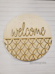 "DIY Wood 14"" Round Welcome or Hello Sign Kit - Mixed Deco Design"