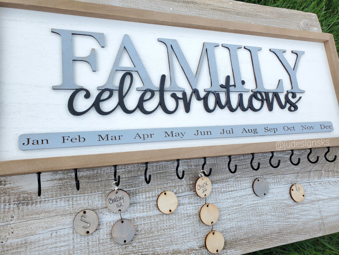 Family Celebration Calendar Sign
